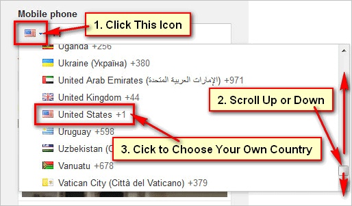 Choose-your-country-for-gmail