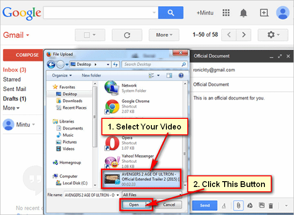 how to send video using gmail