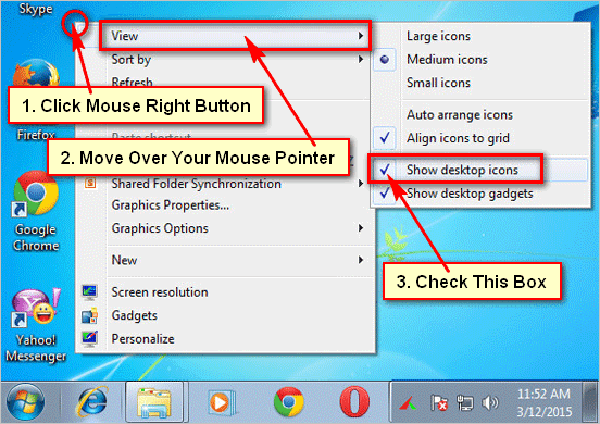 How to unhide desktop icons
