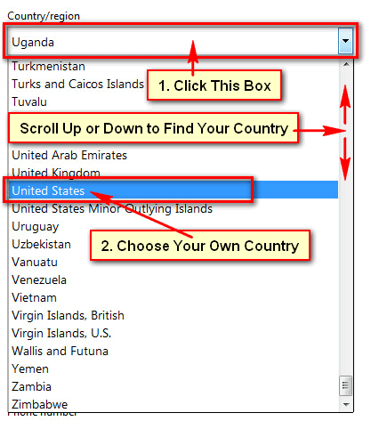 Select-country-for-hotmail