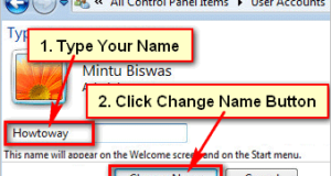 Change User account name Windows 7