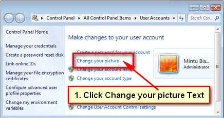 Change user profile picture on Windows 7