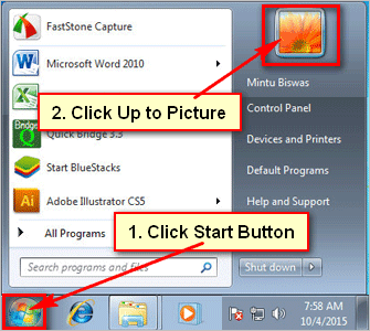 Click profile picture on Windows 7