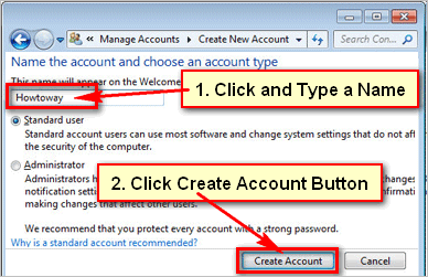 Create an account in Windows 7