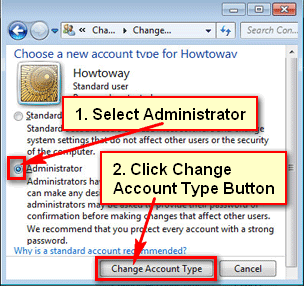 How to change user to administrator in Windows 7