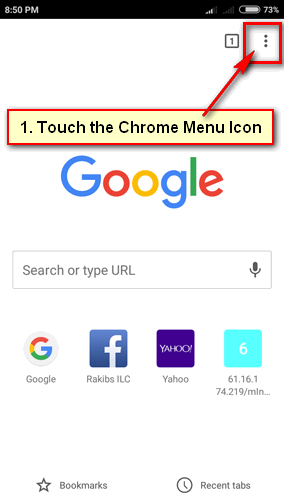 Google Chrome Menu on Android Phone