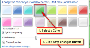 Change taskbar color Windows 7