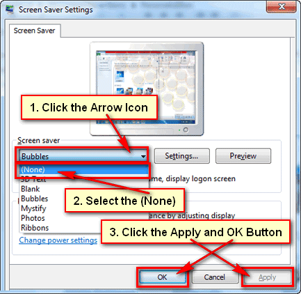 How to turn off screensaver in Windows 7