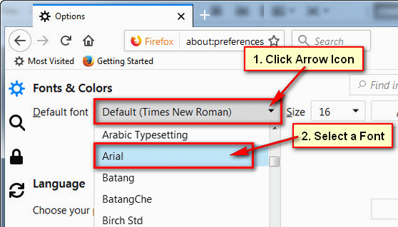 Change the Default Font in Firefox