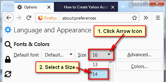 Change the Default Font Size in Firefox