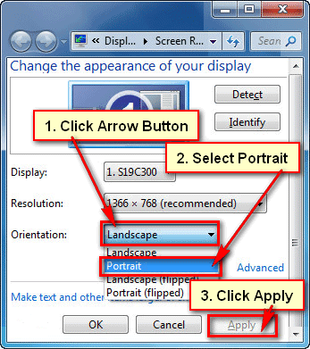 How to rotate screen in Windows 7