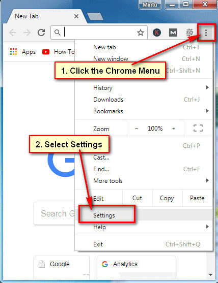 Open Google Chrome Settings