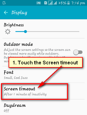 Android screen timeout too fast