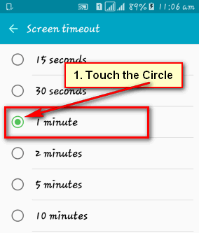 Screen Timeout Android