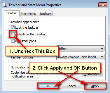 Disable Auto Hide Taskbar in Windows 7