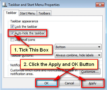 Enable Auto Hide Taskbar in Windows 7