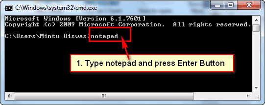 How to Open Notepad from Command Prompt in Windows 7