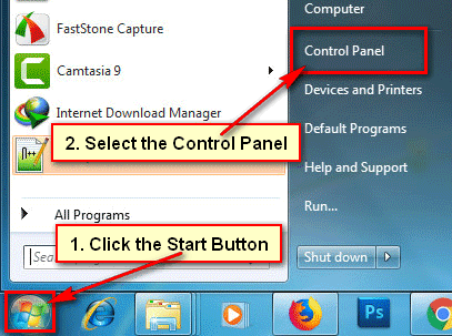 Open Control Panel on Windows 7