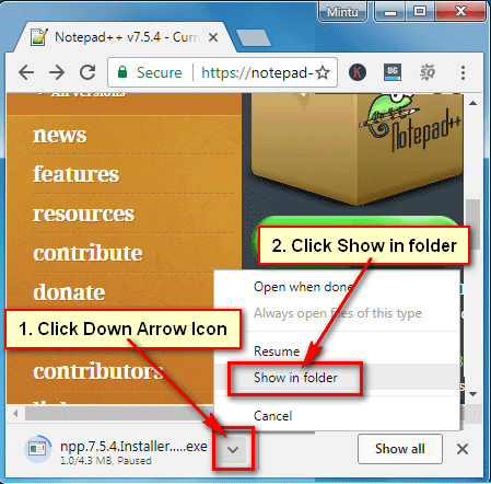 Open Notepad Download File on Google Chrome