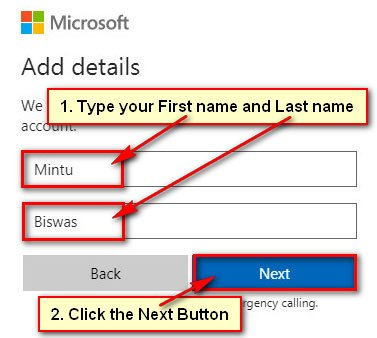Type your First Name and Last Name for New Skype Account