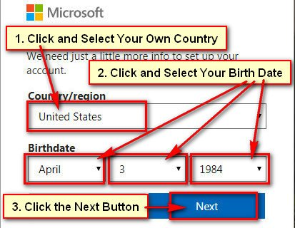 Create Microsoft Account for Windows Phone