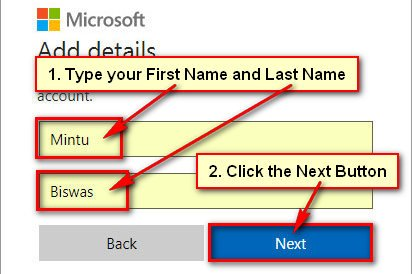 Type Your Name for Microsoft Account