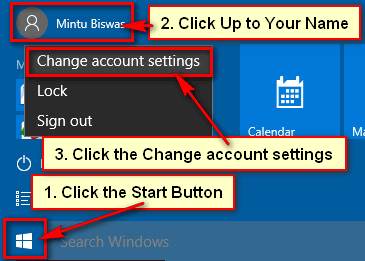 Change Account Settings in Windows 10