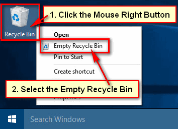 Empty Recycle Bin in Windows 10