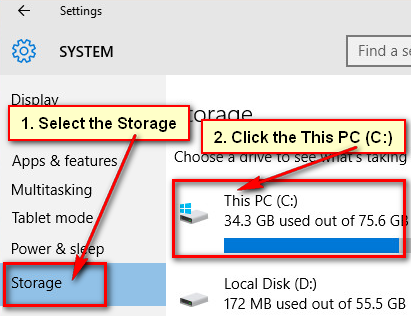 Open Storage in Windows 10