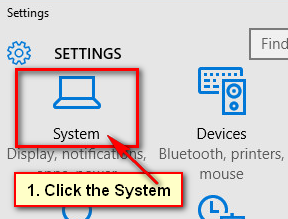 Open the System Settings on Windows 10