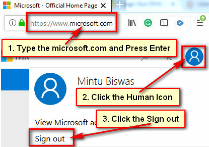 Sign Out of Microsoft Account from Computer or Laptop