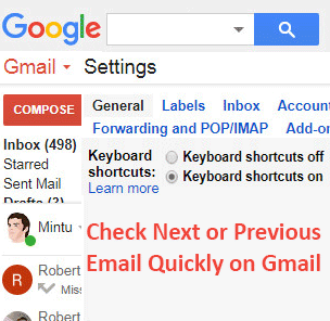 Check Next or Previous Email Quickly on Gmail