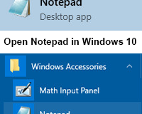 Open Notepad in Windows 10