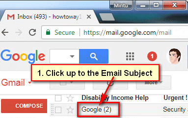 Open an Email on Gmail