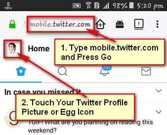 Twitter Sign Out Mobile