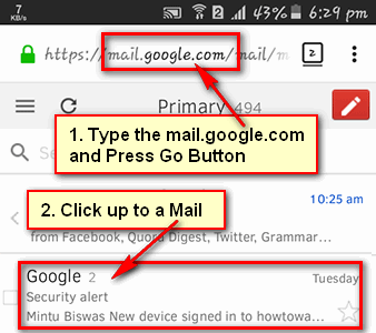 Check Mail in Gmail Inbox