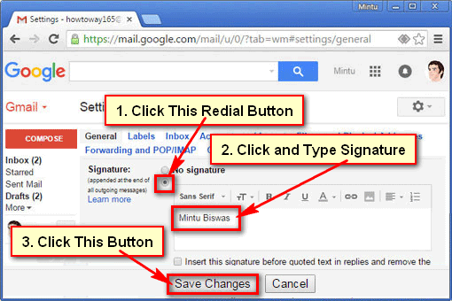 Adding Signature to Gmail