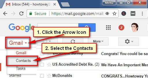 Open Gmail Contacts