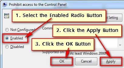 Disable Control Panel in Windows 7