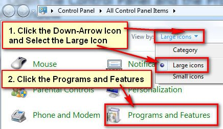 Programs and Features in Windows 7