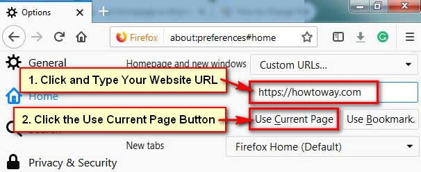 Set Firefox Home Page