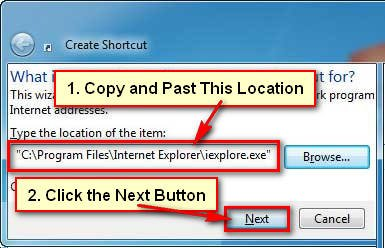 Make a Shortcut to Internet Explorer in Windows 7