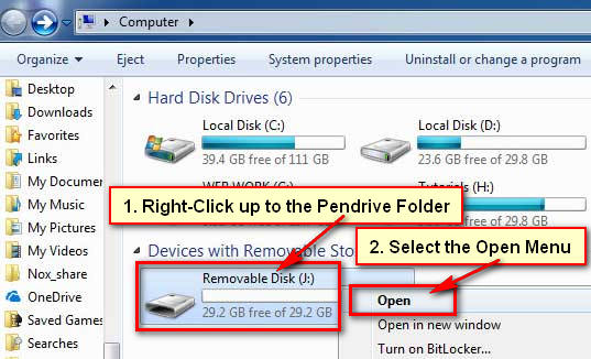 Open Pendrive on Windows Computer