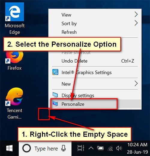 Personalize in Windows 10